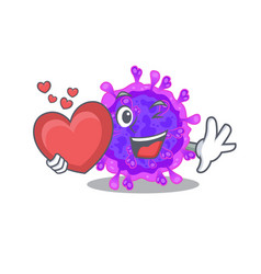 A romantic cartoon alpha coronavirus holding heart vector