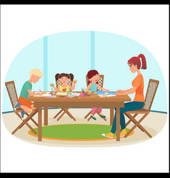 a woman sitting at table in livingroom vector image