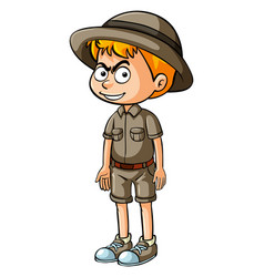 angry boy in safari outfit vector image