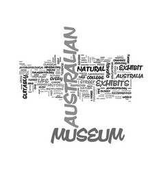 Australian museum text word cloud concept vector