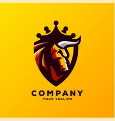 Awesome bull king logo design vector