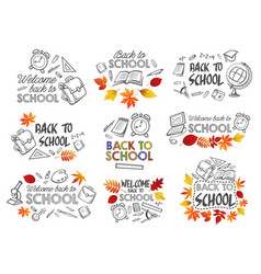 Back to school education stationery icons vector