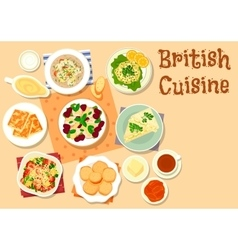 British cuisine traditional breakfast dishes icon vector