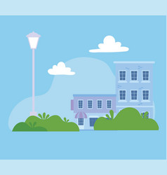 building store residential street urban city vector image