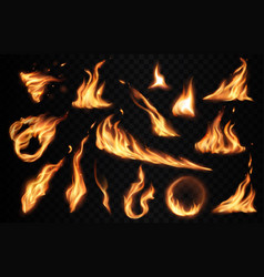 burning fire flames with flashes realistic vector image