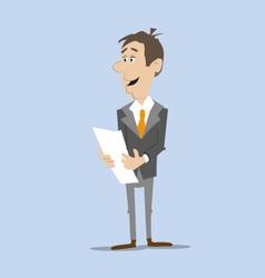 Businessman reading document vector