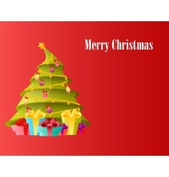 Card Christmas tree with gifts vector