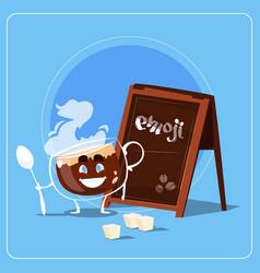 Cartoon coffee cup happy smiling face people emoji vector
