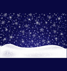 christmas landscape with falling snowflakes snow vector image