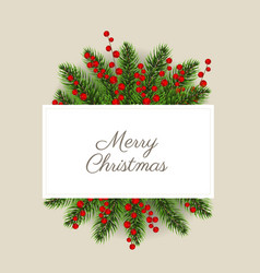 christmas postcard with christmas holly berry vector image
