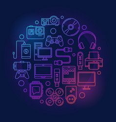 colorful gadgets and devices vector image vector image