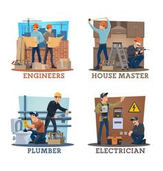 construction engineer electrician plumber worker vector image