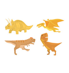 cute animated dinosaurus of different types vector image