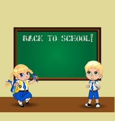 cute cartoon schoolgirl and schoolboy in uniform vector image