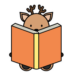 cute reindeer reading book character vector image