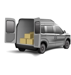 Delivery van with boxes on a white background vector