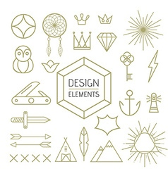 Design element set outline line art shapes vector