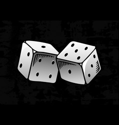 dice in vintage style playing cubes hand drawn vector image