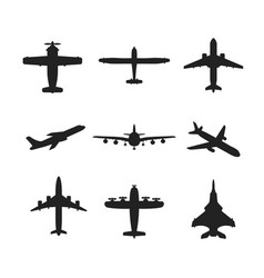 Different airplanes icon set vector