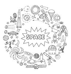 Doodle space elements vector