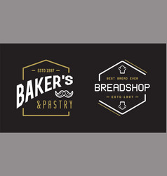 double set bakery pastry elements shop sign vector image
