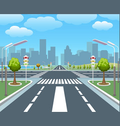Empty city road vector