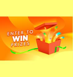 Enter win prize banner open gift box vector