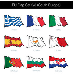 european union waving flag set - south europe vector image