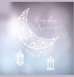 evening sky with ornamental moon arab lanterns vector image