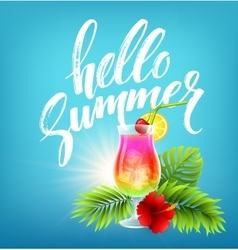 Exotic cocktail and summer greeting on the vector