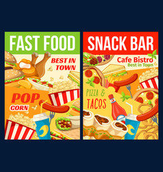 Fast food restaurant lunch meal and drinks vector