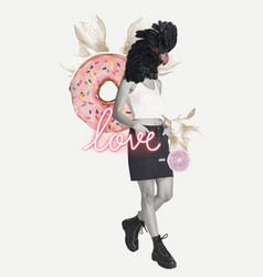 Feminine collage love word in mixed media art vector