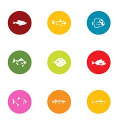 Fish breeding icons set flat style vector