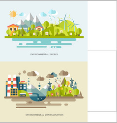 Flat banners with countrysides showing eco vector