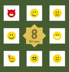 flat icon expression set of winking pouting hush vector image