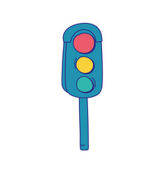 Full color traffic light object to urban caution vector