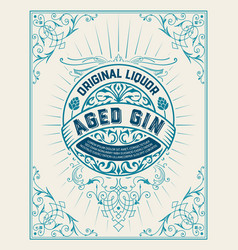 gin label with floral frame vector image