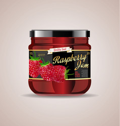 glass jar mockup raspberry package design 2 vector image