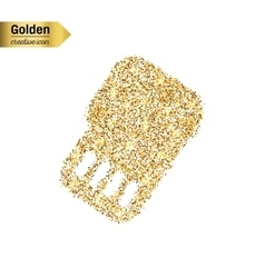 Gold glitter icon of sim card isolated on vector image