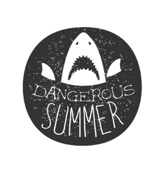 Great white shark with open mouth summer surf club vector