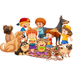 Group children with their dogs on white vector