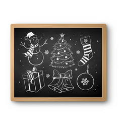 hand drawn chalked christmas collection vector image