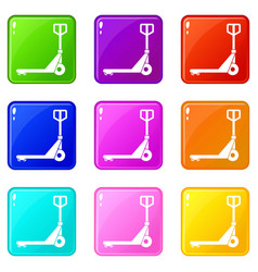 Hand truck icons 9 set vector