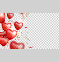 heart balloon gold confetti valentines day vector image