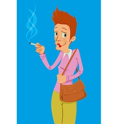 heavy smoker lady vector image