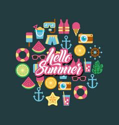 Hello summer icon set background vector