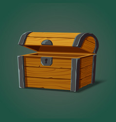 isolated opened pirate chest or crate trunk vector image