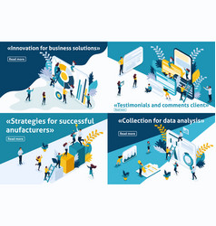 Isometric set article for business solutions vector