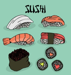 Japanese food sushi fresh fish vector