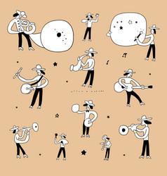 Jazz band musicians doodle set design vector